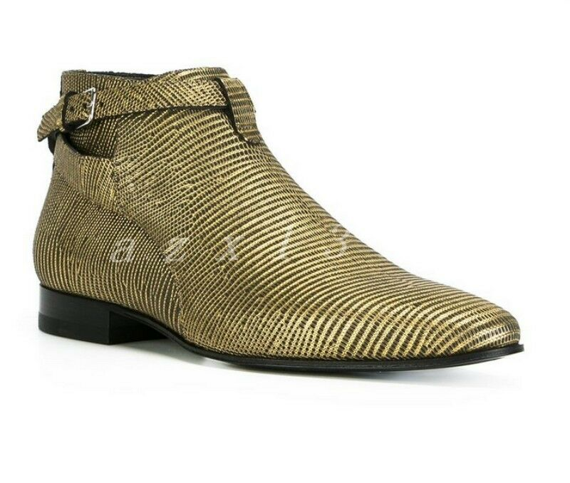 Men's British Leather High Top Pointed Toe Buckle Luxury Ankle Boots Dress shoes