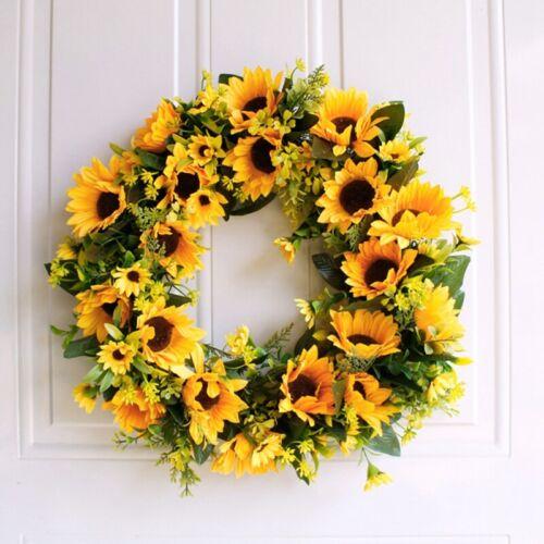 Artificial Sunflower Summer Wreath-16 Inch Decorative Fake Flower Wreath Wit NU3