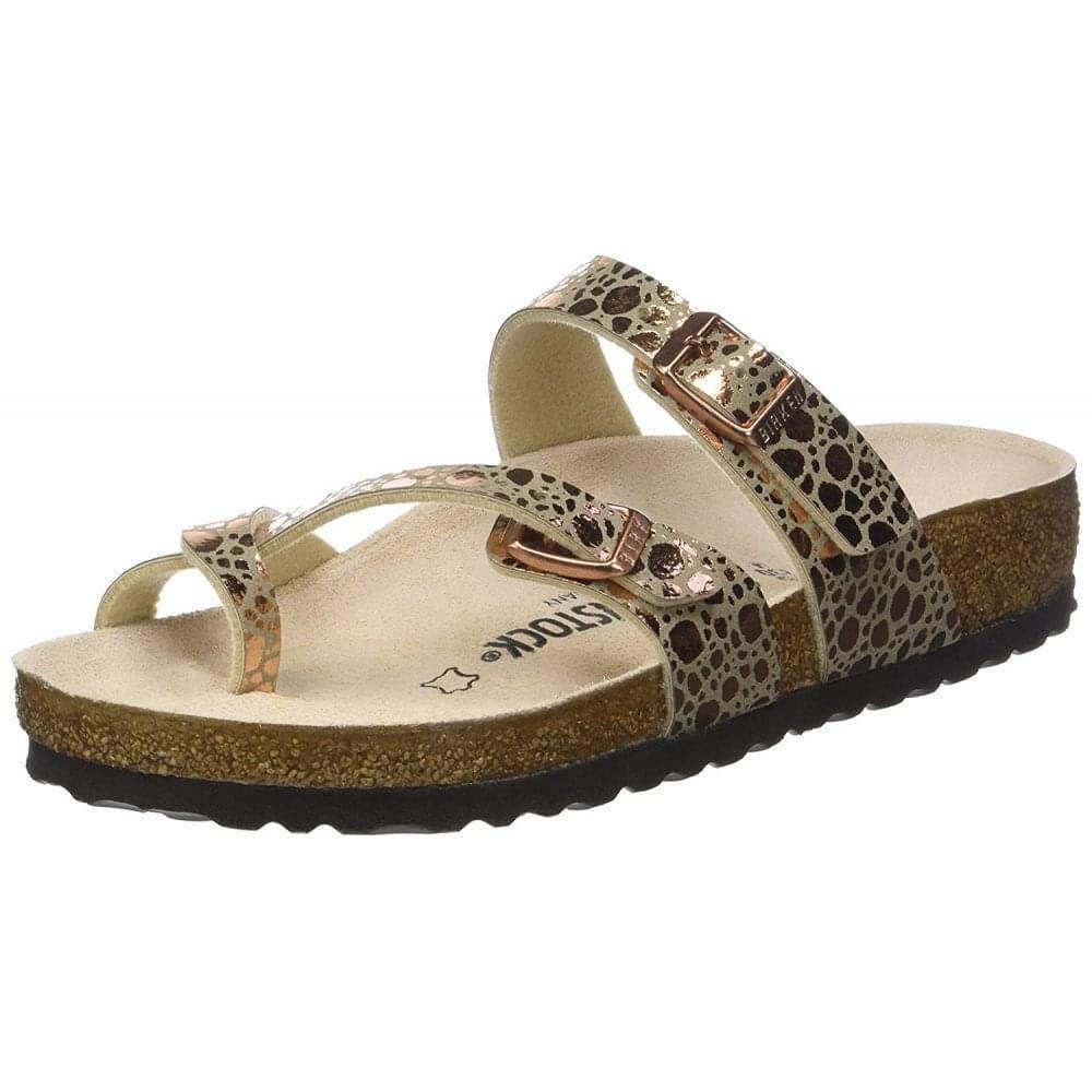 Da Fit Donna Mayari Birko-Flor metallico pietre Sandalo Standard Fit Da Nero Rame Regno Unito 55bffa