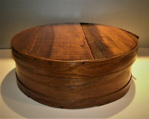 """Vtg / Antique Primitive Cheese Box 15"""" Dia.Round Bent Wood Stained & Finished"""