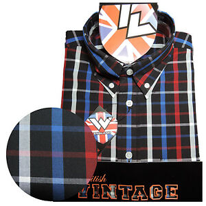 Warrior-Short-Sleeve-Button-Down-Shirt-TORCH-Mod-Skinhead-Black-Blue-Red-Grey