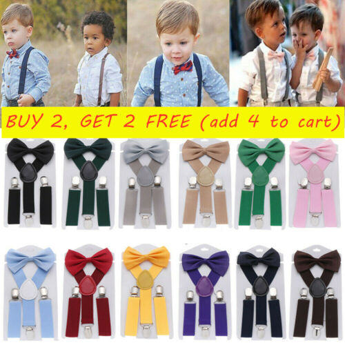1set Solid Color Kids Suspenders Elastic Braces Cow Tie Belts Printed Bow Tie ~