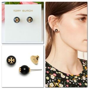 7b4b8e01f76 Tory Burch Crystal Pearl Stud Earrings Black Authentic With Dust Bag ...