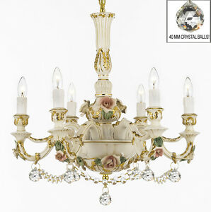 Authentic Capodimonte Porcelain Chandelier Made In Italy W Swarovski Crystal Ebay