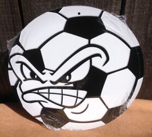 Angry-Soccer-Ball-Face-Round-Sign-Vintage-Garage-Bar-Decor-Old-Rustic
