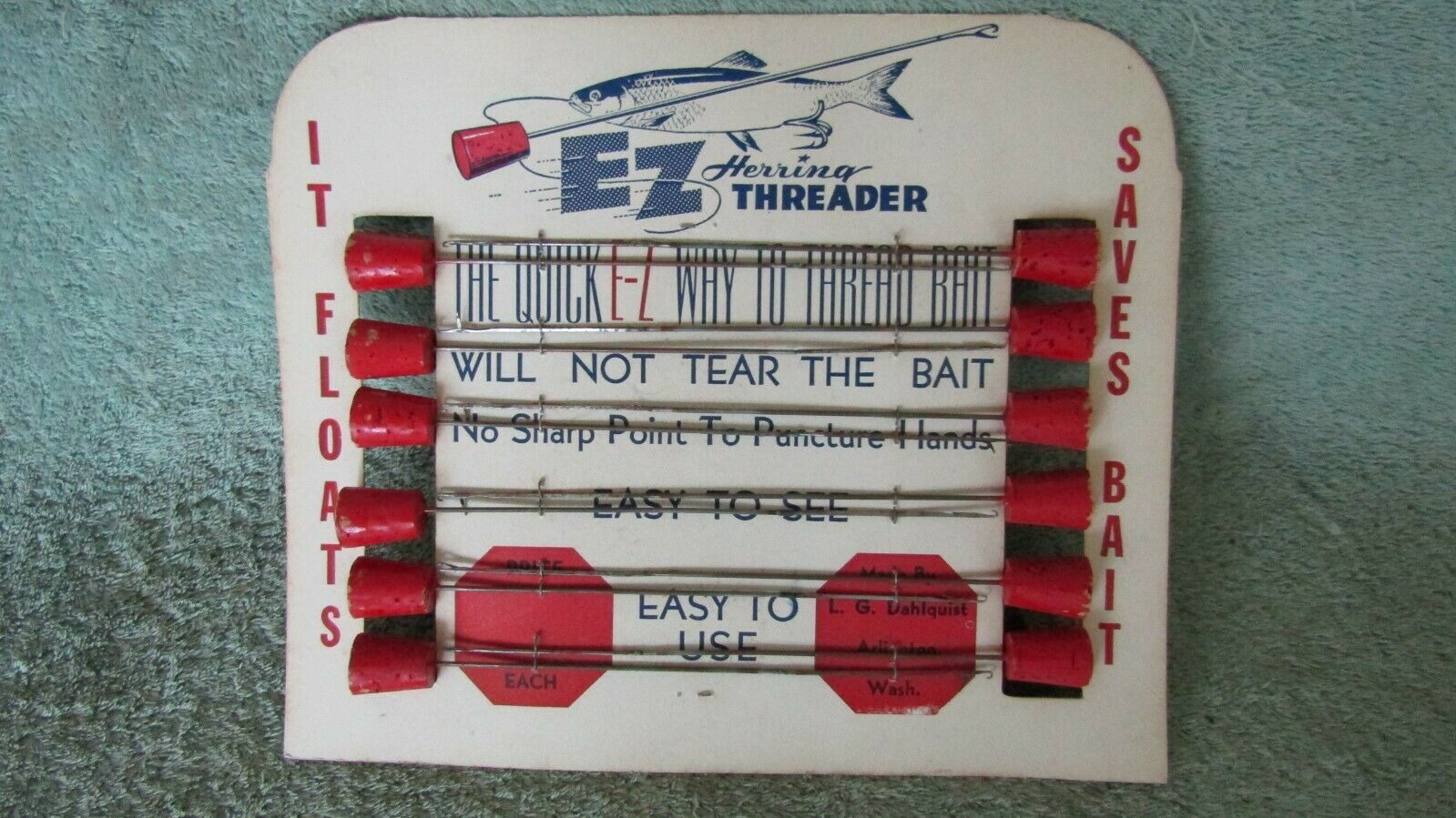 Vintage Fishing Counter Display EZ Herring Threader Fishing Sign Store Nice