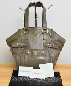 153299553f8 YSL Downtown Medium Gray Patent Shoulder Tote Bag Used Authentic w ...