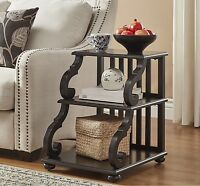 Rustic End Table Wood Scroll Antique Black Finish Sofa Side Display Accent