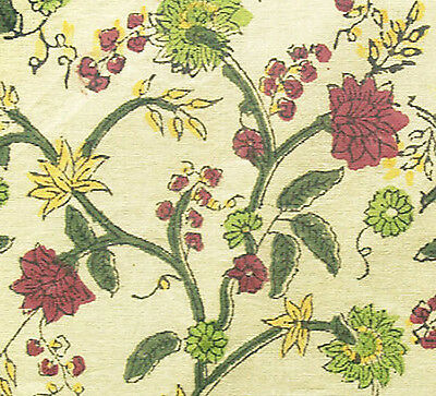 Hand Printed Cotton. 2½ Yards. Sheer, Block Print Fabric. Red, Yellow, Green