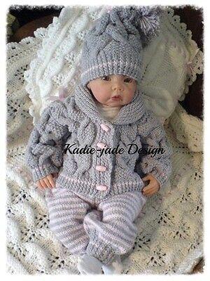 Knitting Pattern #91 (INSTRUCTIONS) 3 Piece Cardigan Set 0-6m Baby