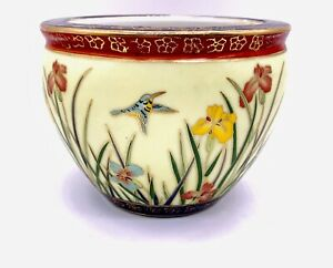 Vtg-Asian-Chinese-Floral-Hummingbird-Butterfly-Fish-Bowl-Planter-Pot-5-5-W-4-H