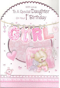 Image Is Loading 1st Birthday Card For Daughter Various Designs To