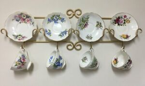 Details About Tea Cup And Saucer Wall Rack Antique Gold Metal Horizontal Teacup