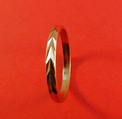 l1 Ehrlichkeit Damen 14kt Gold Ep 2.5mm Winkel Lasergeschnitten Ehering Größe 11 Vorher