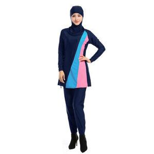 92b44aced10bd Image is loading AU-Full-Cover-Muslim-Swimwear-Attached-Hijab-Islamic-