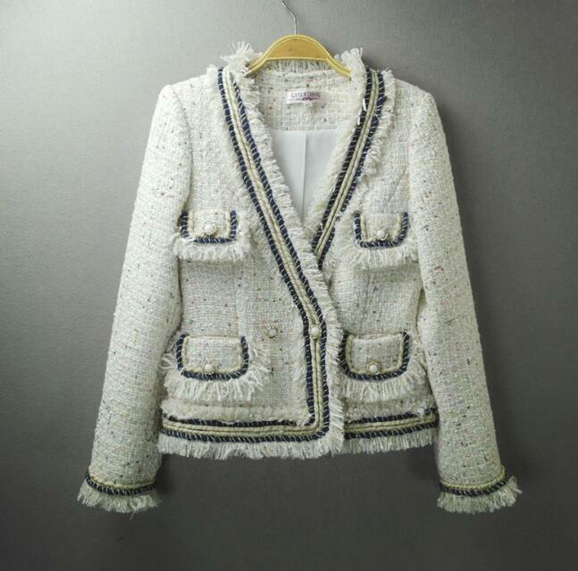 damänner Designer Inspirot Pearl Button Tweed Sequined jacke Coat Blazer