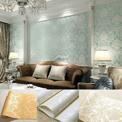 Home Luxrious3D Damask Embossed Textured Non-woven Flocking Wallpaper Rolls