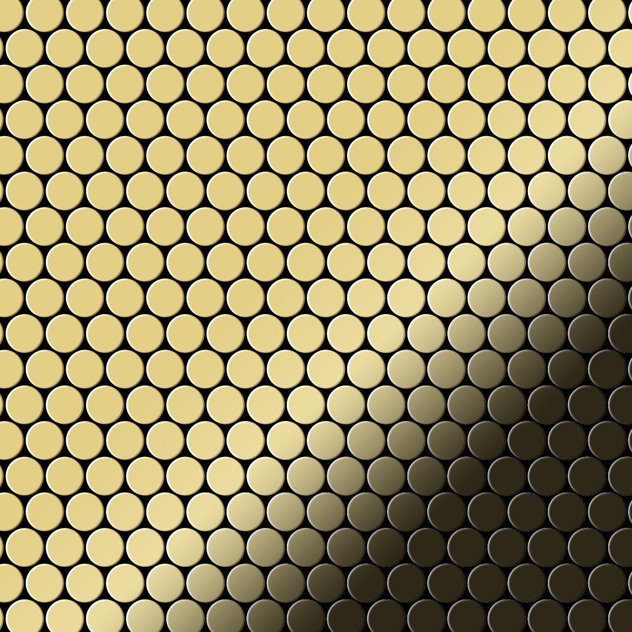Metal Mosaic Tile Brass mill Gold 1,6mm Penny-BM