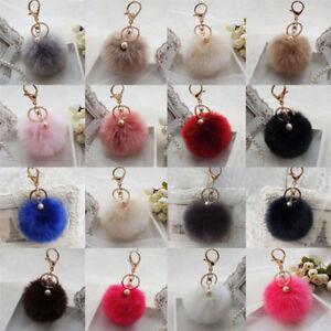 Rabbit Fur Pom-pom Key Chain Bag Charm Fluffy Puff Ball Bow Key Ring Pendant 8CM