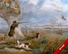 1800'S ENGLISH GENTLEMAN DUCK HUNTING W DOGS PAINTING ART REAL CANVAS PRINT