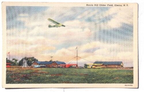 Vintage 1950's Harris Hill Glider Field ELMIRA N.Y New York Photo Postcard