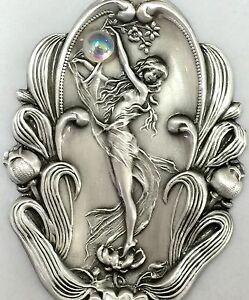 """HUGE Stamped Brass Art Nouveau Woman """"HOLDING GLASS CRYSTAL BALL""""Button~2 1/2"""""""