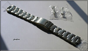 SILVER-Stainless-Steel-Solid-Links-Watch-Band-Bracelet-Curved-End-19-20-21-22-mm