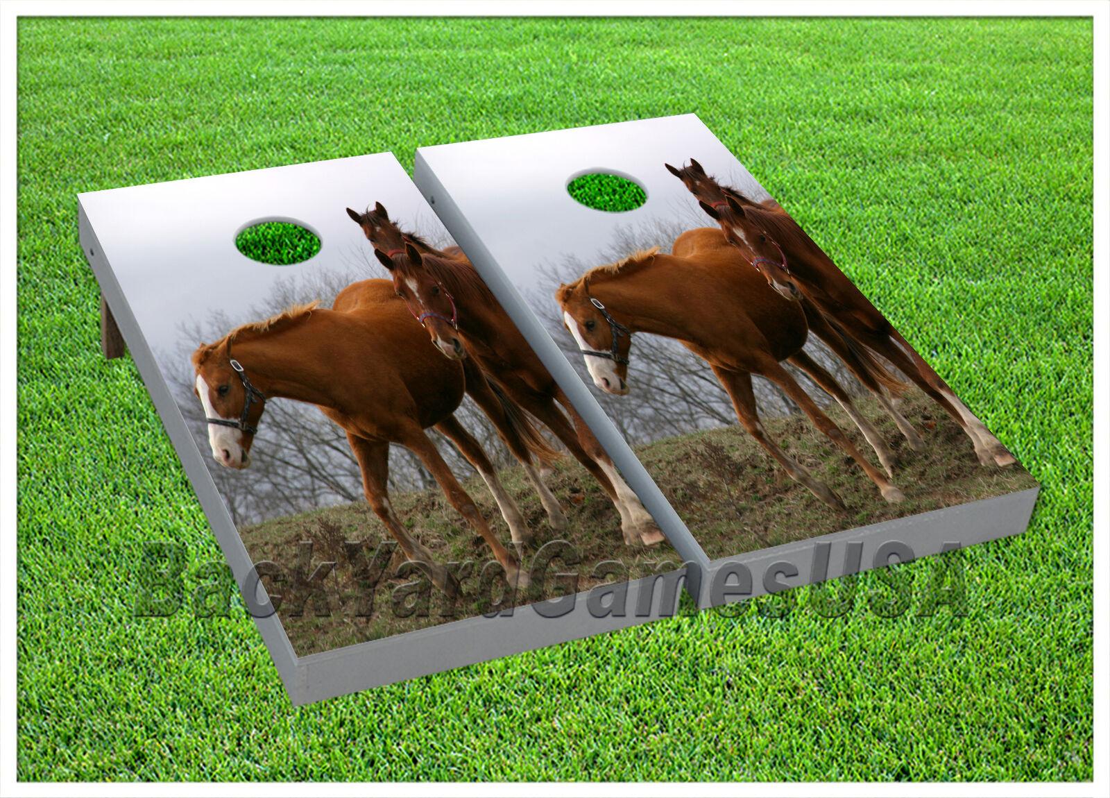 VINYL CORNHOLE BEANBAG Untamed Brown Stallions Boards Wraps 1078