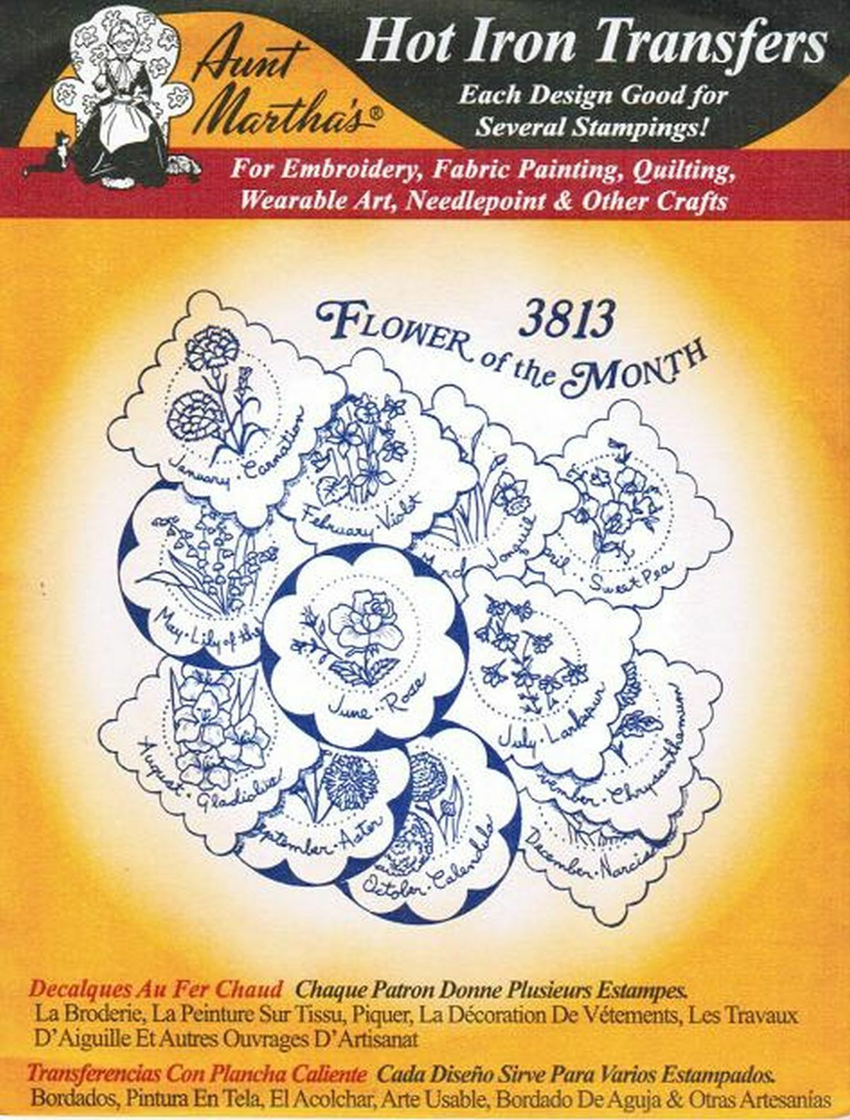 Flower of the month aunt martha s hot iron embroidery