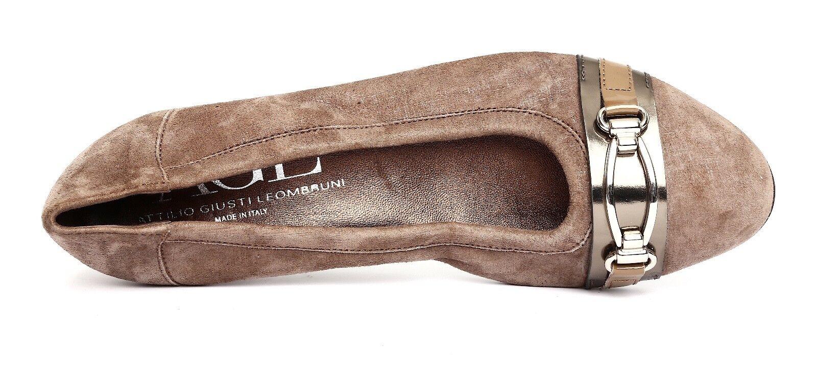 Attilio Giusti Leombruni Womens Brown Grey Grey Grey Leather Slip On Wedge Pump Sz 39 2976 3714c8