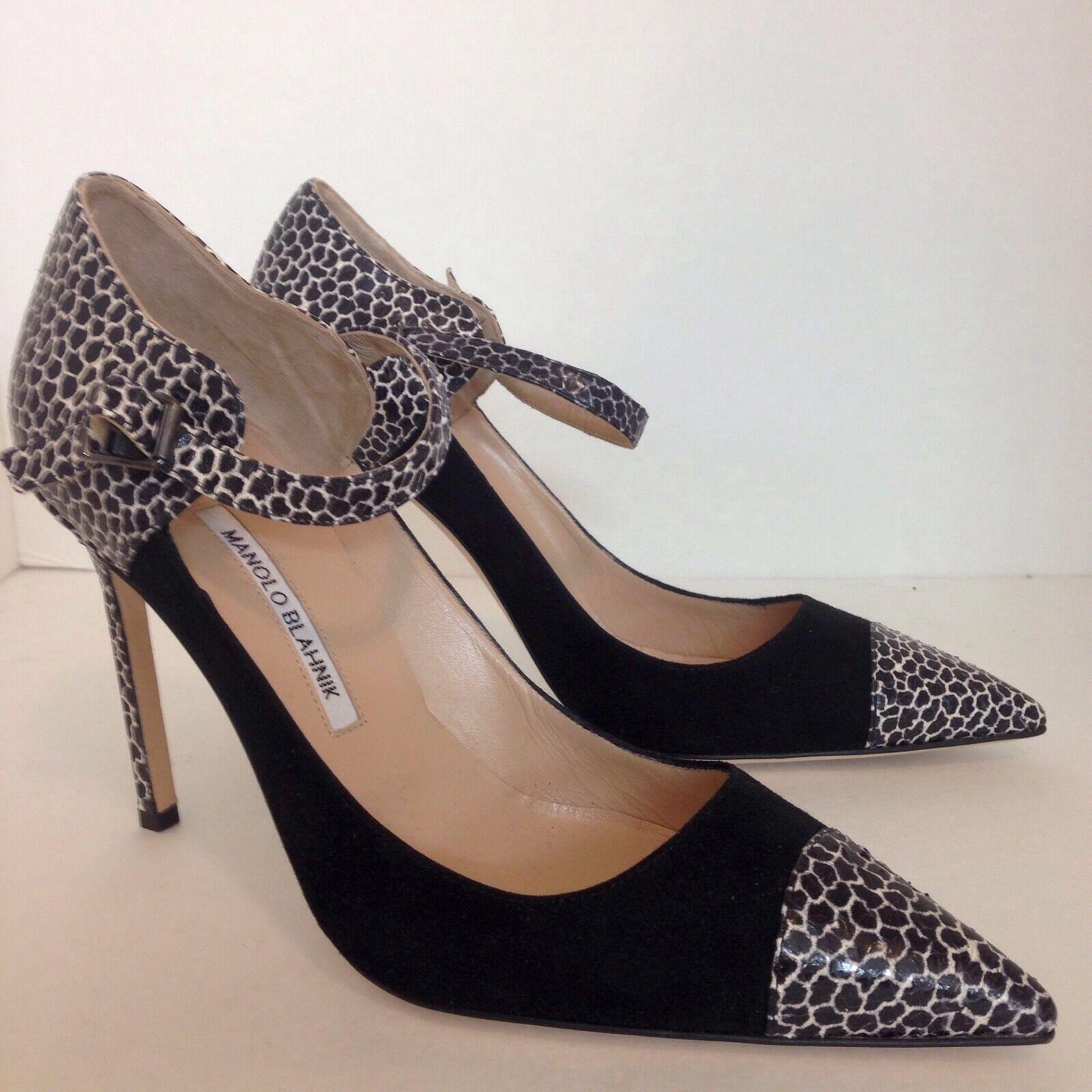 Manolo Blahnik Zapatos Negro Gamuza impresión impresión impresión puntera y talón Nuevo Talle 40  venta directa de fábrica