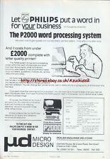 Philips P2000 Vintage Word Processing System 1984 Magazine Advert #5229