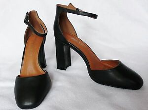 BNWT-NEXT-black-leather-black-ankle-strap-Forever-comfort-court-smart-shoes-heel