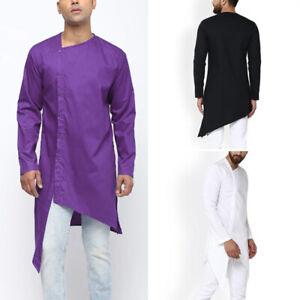 Mens Indian Ethnic Shirt Kurta Long T shirts Indian Kurta Kaftan Dress Shirt Top