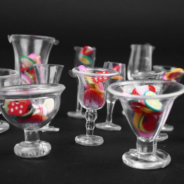 15pcs//Set Mini Transparent Drink Cups Dish Plate Tableware Miniatures TLT