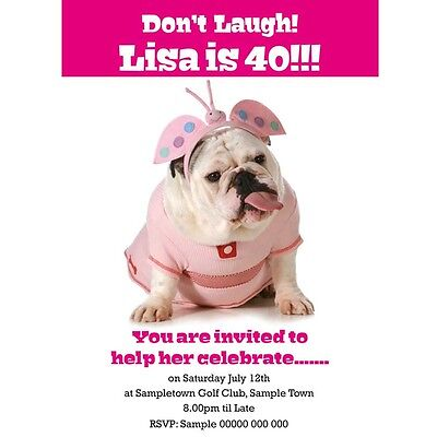 Personalised Birthday Invitations Funny bulldog for all ages with any text