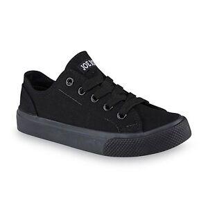 New Youth Joe Boxer Canvas Low Top Sneaker Black 71K sr