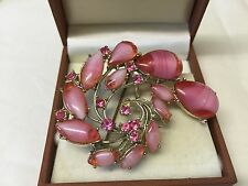 Vintage Signed Exquisite Pink Tear Drop Brooch Pin