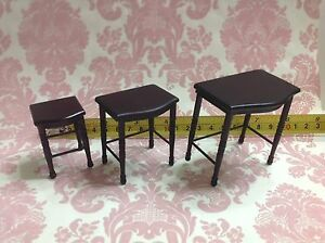 Dollhouse-Miniature-Room-Furniture-Brown-Wood-Stand-Table-3-piece-1-12