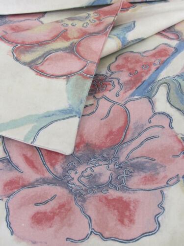 Floral Blues Pretty Cushion Cover Greens Water Colour Cream Cotton. Pinks