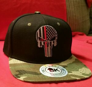 a22c8833b51 Red Line Firefighters Punisher Ball Cap hat USA Punisher red line ...