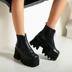 Women-Punk-Wedge-Ankle-Boots-Front-Zipper-Chunky-Heels-Platform-Shoes-Gothic-Cos