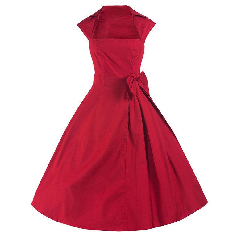 red 50er Jahre Swing Swing Swing Schleifen Kleid 54d56a