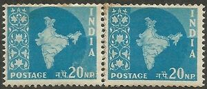 India 1955 Map 20np coil join pair MNH