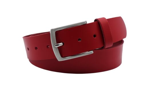 4cm rote Ledergürtel  Vollrindleder-//Jeansgürtel für Damen und Herren 80-145cm