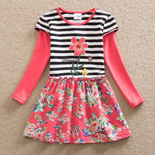Girls Floral Rainbow Dress Long Sleeve Skirt Party Clothes UK Age 3-8 Years Old