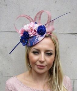 Details about Royal Blue Blush Dusky Pink Rose Flower Feather Hat Hair  Fascinator Races 5717 06746c5d49b