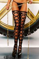 Sexy Wetlook Stockings Frontschnürung halterlose Strümpfe Glanz Overknees Lack