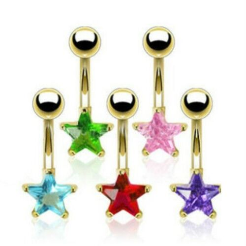 GOLD-TONE STEEL CZ GEM STAR BELLY NAVEL RING BUTTON PIERCING JEWELRY B683