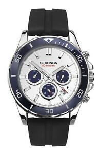 Sekonda-Gents-Chronograph-Watch-Black-Silicone-Strap-amp-White-Dial-1708